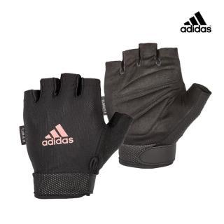 【adidas 愛迪達】Training 可調式透氣短指訓練手套-粉(S-M)