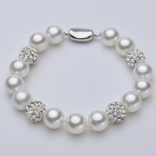 【Angel】名媛貴婦水鑽圓球貝珍珠亮白手環(白色)