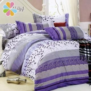 【Seiga 飾家】買一送一葉葉秋色(活性絲柔棉加大六件式兩用被床罩組台灣製造)