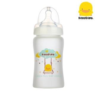 【Piyo Piyo 黃色小鴨】360°矽膠防護寬口徑玻璃奶瓶180ml