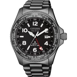 【CITIZEN 星辰】PROMASTER GMT 限量光動能兩地時間手錶-灰/42mm(BJ7107-83E)
