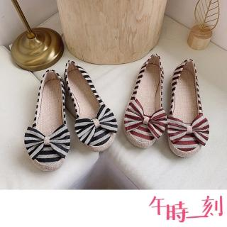 【午時一刻】質感棉麻布面條紋蝴蝶結舒適圓頭平底鞋(2色任選)