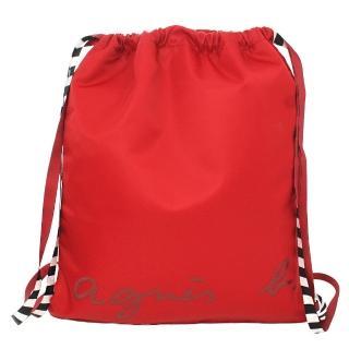 【agnes b.】VOYAGE  條紋背帶質感尼龍束口後背包(紅色)
