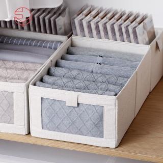 【日本霜山】棉麻布摺疊式分類收納盒-附透窗-L