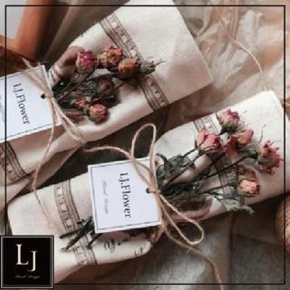 【LJ.Flower 詩意花園】復古乾燥玫瑰花手提袋(九月新品)