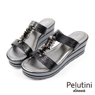 【Pelutini】水亮黑鑽雙帶楔型涼拖(黑色 20164-BL)