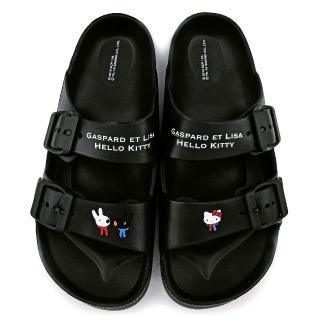 【童鞋城堡】麗莎與卡斯伯 x Kitty 女款 簡約質感超輕量拖鞋(GK1323-黑)