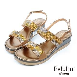 【Pelutini】水亮晶鑽時尚雙條細帶涼拖鞋(金黃色 19540-BR)
