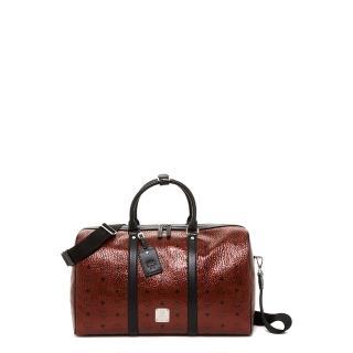 【MCM】中款 超大容量 Weekend Bag 旅行袋 行李包 酒紅色(旅行袋 行李包 側肩包 手提包)