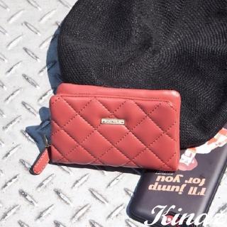 【KINAZ】菱格風琴卡片零錢包-甜桃紅唇-龐克女孩系列