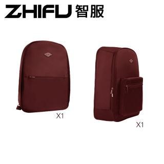 【ZHIFU 智服】筆電後背包+拼接旅行包兩件組-咖啡色(後背包 旅行包 拼接包)