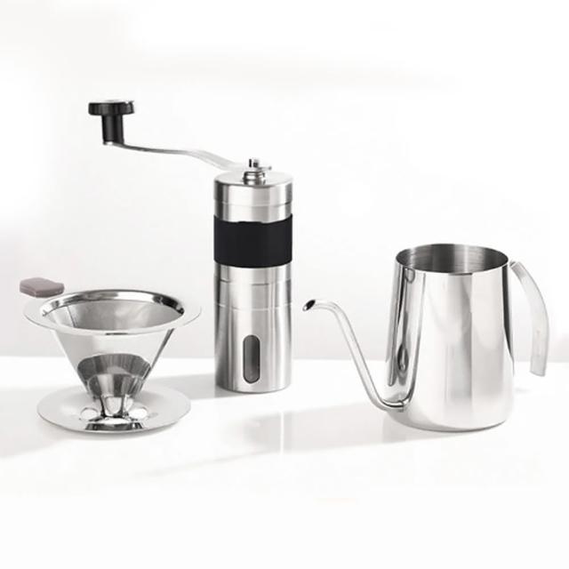 304不銹鋼咖啡濾網手沖組(1-2人份附304極細手沖壺+手搖磨豆機)/