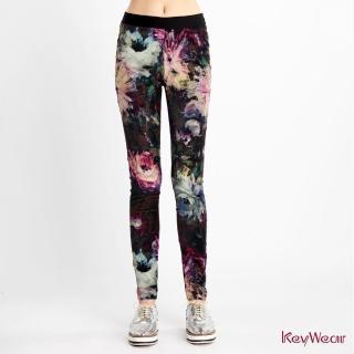 【KeyWear 奇威名品】歐美風格暈染花卉九分褲