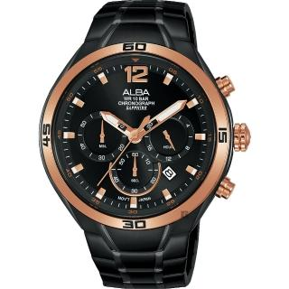 【ALBA】雅柏 IG廣告款 型男計時錶-黑44mm(VD53-X353SD  AT3G36X1)