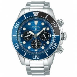 【SEIKO 精工】Prospex 愛海洋特別版深海鯊魚太陽能計時潛水錶-藍/43.5mm(SSC741P1/V175-0EV0B)