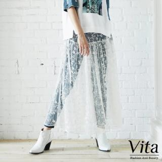【mysheros 蜜雪兒】VITA 透膚蕾絲刺繡花造型長裙(白)