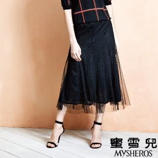 【mysheros 蜜雪兒】蕾絲透膚紗長裙(黑)