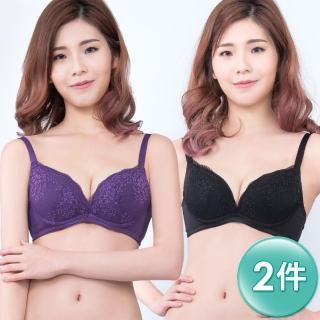 【Swear 思薇爾】V型誘惑系列B-E罩蕾絲包覆內衣2件組(黑+紫)