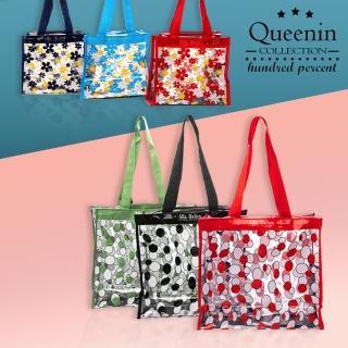 【DF Queenin】透明果凍花朵手提拉鏈小方包-共2款
