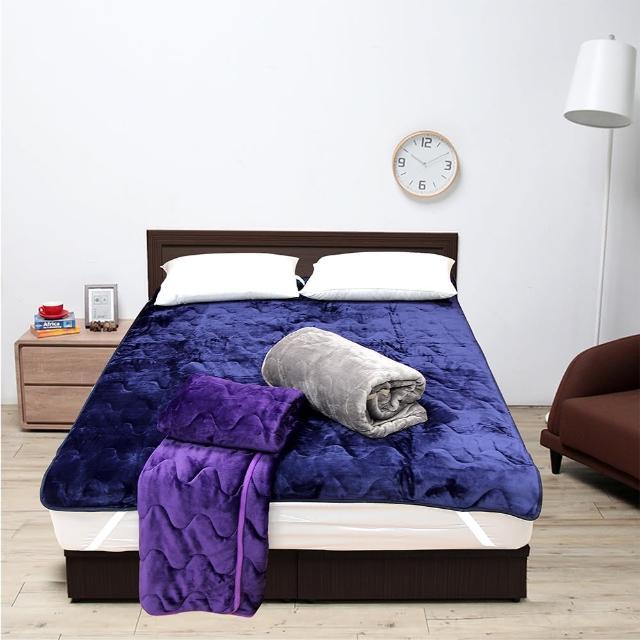 【Victoria】雙人加大法蘭絨抗靜電保暖墊(藍/灰/紫三色可選擇)/