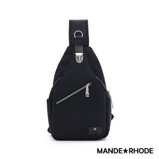 【MANDE RHODE 曼德羅德】普徠德-美系潮男風格插扣單肩胸包-格紋黑(P320-A)