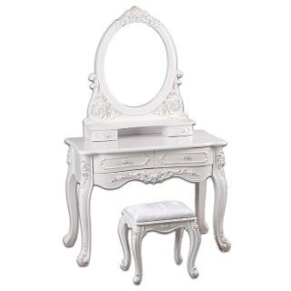 【AT HOME】法式設計3.3尺象牙白雕花鏡台/化妝台(含化妝椅)