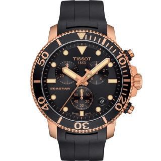 【TISSOT 天梭】Seastar 1000 海洋之星300米計時手錶-黑x玫塊金框(T1204173705100)