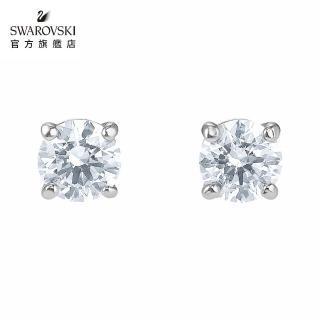 【SWAROVSKI 施華洛世奇】Attract 白金色方形寶石穿孔耳環 情人 禮盒