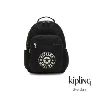【KIPLING】俐落簡約經典LOGO黑色機能手提後背包-SEOUL