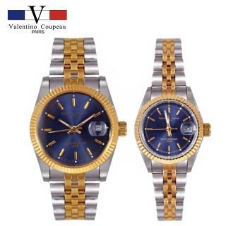 【Valentino Coupeau】范倫鐵諾 古柏 藍面細針雙色帶不鏽鋼殼帶防水手錶(兩款)