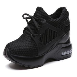【Taroko】韓版網面鏤空透氣內增高氣墊休閒鞋(2色可選)