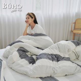 【BUHO布歐】極柔暖法蘭絨6尺雙人加大床包+舖棉暖暖被150x200cm四件組(多款任選)
