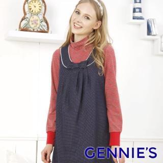 【Gennies 奇妮】高領橫條紋棉T上衣(灰黑/紅灰G3852)