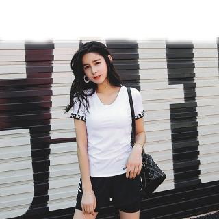 【狐狸姬】M-2L芬達短袖運二件式運動服-二件式(白)