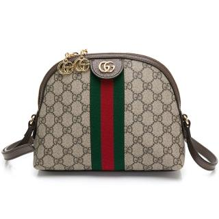 【GUCCI 古馳】499621 雙G Logo PVC緹花紅綠織帶肩揹/斜背包(棕色)