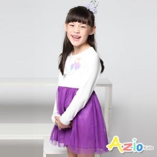 【Azio Kids 美國派】女童 洋裝 可愛貓咪氣球澎澎紗裙洋裝(紫)
