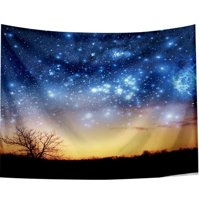 【半島良品】贈星星燈-唯美星空/北歐掛布掛毯(掛毯