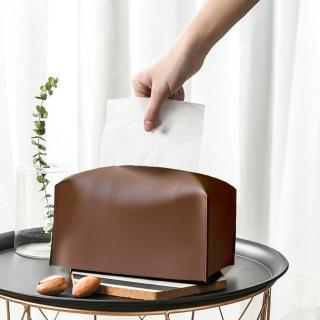 【收納職人】北歐ins創意輕奢皮革面紙盒/收納袋(兩色一組)
