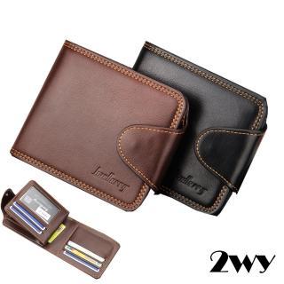 【2WY】高質感壓線設計零錢暗袋錢包皮夾短夾(黑色/咖啡)