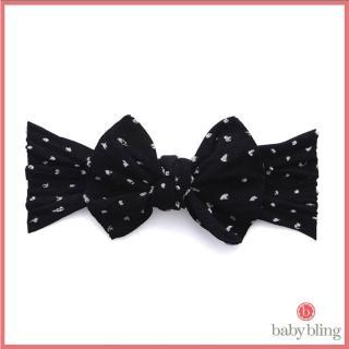 【美國baby bling】純手工超彈/極細緻親膚圖騰款蝴蝶結髮帶/髮飾_黑色點點(BBPK014)