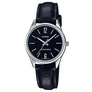 【CASIO 卡西歐】經典時尚混搭真皮指針錶-黑面(LTP-V005L-1B)