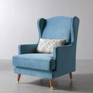 【hoi! 好好生活】林氏木業休閒單人沙發椅老虎椅主人椅RAF2Q-藍灰色