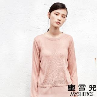 【mysheros 蜜雪兒】VITA 羊毛針織拼接雪紡衣(粉)