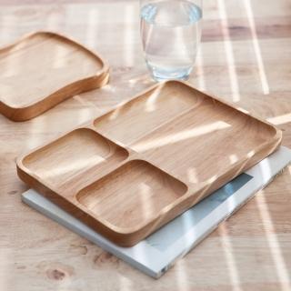 【生活工場】木質宣言橡膠木方型分隔餐盤