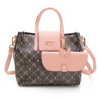 【PLAYBOY】手提包附長背帶 Coral Garden珊瑚花園-愛麗絲系列(粉紅色)