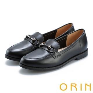 【ORIN】女紳時尚 牛皮馬銜釦樂福鞋(黑色)