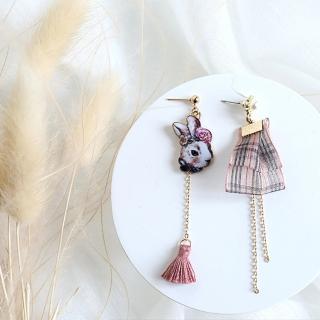 【BBHONEY】甜美蕾絲森林系可愛兔子文藝耳墜韓版耳飾耳針耳夾(甜美韓風)