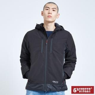 【5th STREET】男連帽鋪棉長袖外套-黑色