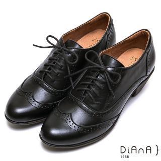 【DIANA】英倫高質感雕花牛皮綁帶粗跟牛津鞋-漫步雲端焦糖美人款(黑)