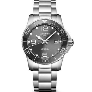 【LONGINES 浪琴】深海征服者浪鬼陶瓷潛水機械錶-灰x銀/41mm(L37814766)